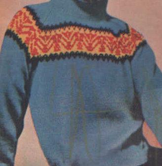 pulóver norvégmintás betettel