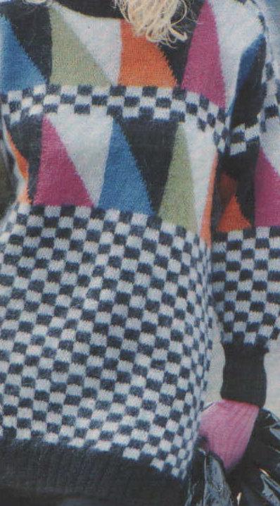 pulóver háromszögmintával