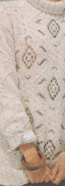 női pulóver fonatokkal hímzéssel