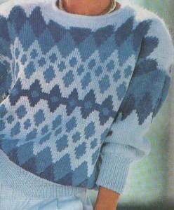 Kék tónusú női pulóver