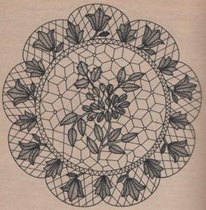 Tulipános terítő zsinórhogollással rajz