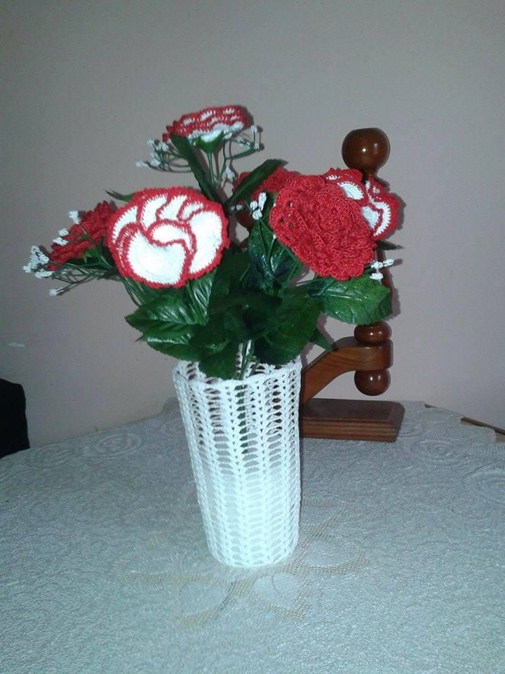 horgolt váza