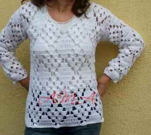 Kötött női pulóver Kötés HorgolásKötés – Horgolás
