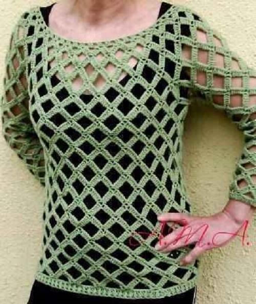 zöld racsos-horgolt pulcsi